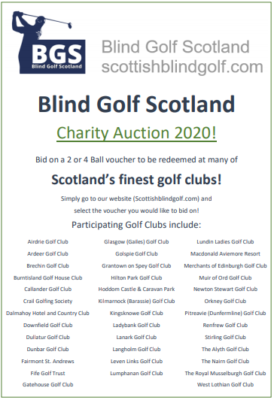 Blind Golf Scotland - Auction 2020 Poster 13.10.2020